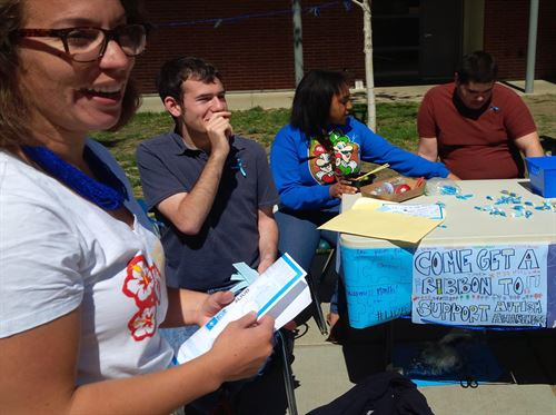 Picture of students engaging the school community during National Autism Awareness Month (Spring 2015)